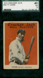 1914 Cracker Jack Ty Cobb #30 VERY HIGH END SGC 40 Centered